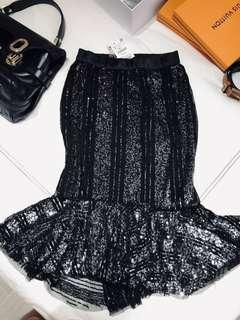 Glitter skirt Zara Black with silver for Christmas / new year Midi