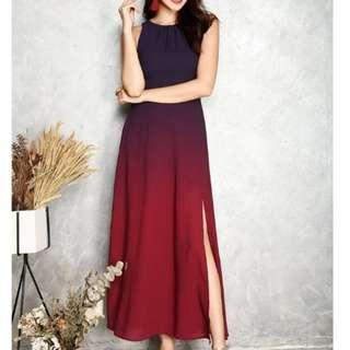 Julie Ombre Maxi Dress in Maroon