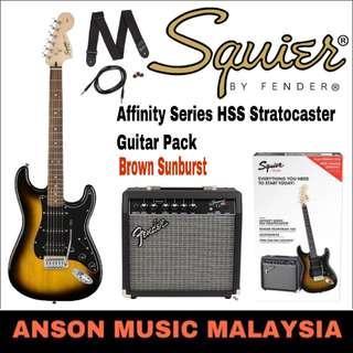 Squier Affinity Series HSS Stratocaster Guitar Pack, Brown Sunburst