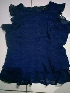 Peplum Shirt warna biru Navy