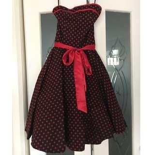 Strapless Black and Red Polka Dot Dress