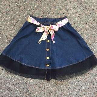 Denim skirt with mesh (NEW)