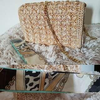 Handmade crochet, goldchain handbag with free Twilly