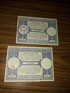 vintage International reply coupons US15c
