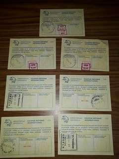 set of 7 International reply coupons Lire