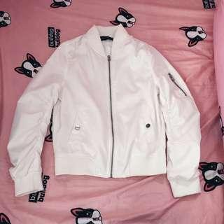 White zipper ulzzang bomber jacket