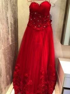 紅色晚裝 敬酒裙 Wedding dress, wedding gown in red