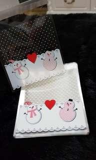 NEW 40pcs Two Snowman Christmas Design Self-Adhesive Souvenir Cookie or Candy Plastic Pouch 10cm