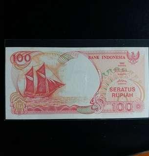 印尼纸幣  UNC 1992年100盧比 (号碼隨意,有連号)