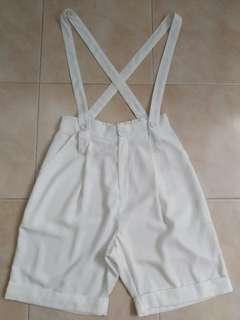 White Overall Shorts