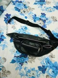 Black leather chain bumbag /waistbag