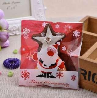 SALE NEW 40pcs Red Santa w/ Snowflakes Christmas Design Self-Adhesive Souvenir Cookie or Candy Plastic Pouch 10cm