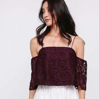 Love Bonito Wine Red Off Shoulder Top