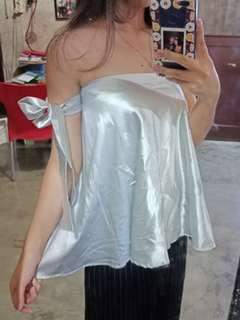 Silk sabrina one shoulder
