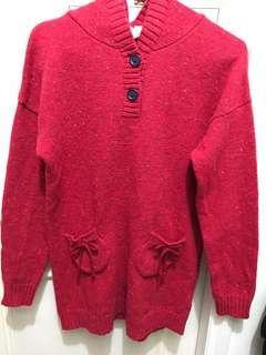 🚚 a la sha 長版連帽毛衣 紅色 S 號 聖誕應景 過年紅色喜氣洋洋