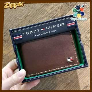 全新 Tommy Hilfiger Men's Leather Wallet 真皮銀包, Zipper 啡色