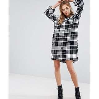 🚚 Cheap Monday Flannel Check Shirt Dress with Open Back Detail