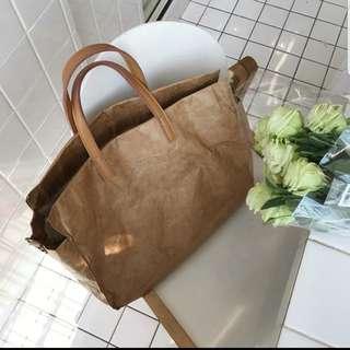 Brown tote wearable pagar bag