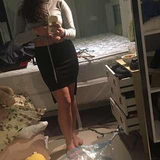 Scuba Raised Hem Black Skirt
