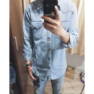 自然水洗刷色 修身版型 西部風格 牛仔襯衫 長袖襯衫 丹寧