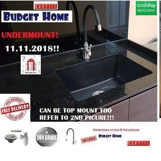 Granite sink + kitchen Tap   .black kitchen sink /Granite Kitchen Sink + Kitchen tap / granite kitchen sink