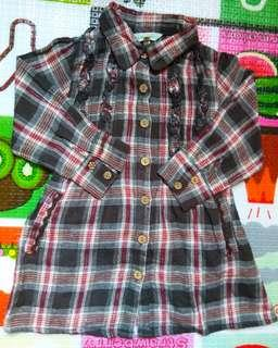 全新日本3can4on女童長版襯衫90cm