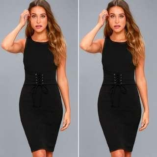 BNWOT Black Two Way Sleeveless Bodycon Midi Dress with Lace Up Waist Tie Cinch and Front Slit