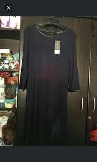 DOROTHY PERKINS Navy Blue 3/4 Dress with Leather accent