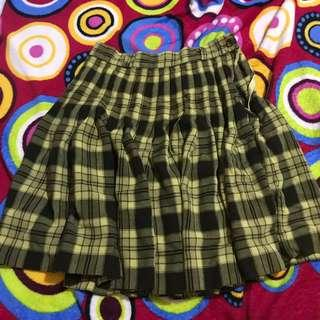 Korean Yellow and Brown Plaid Pleated Skirt