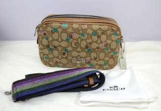 Coach Isla Signature Jacquard Crossbody Handbag-KHAKI/SADDLE/MULTI