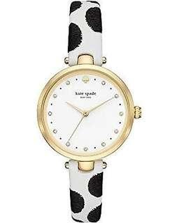 Kate Spade Dotted White Leather Holland Watch-GOLD