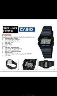 Casio Black Resin Band Digital Watch