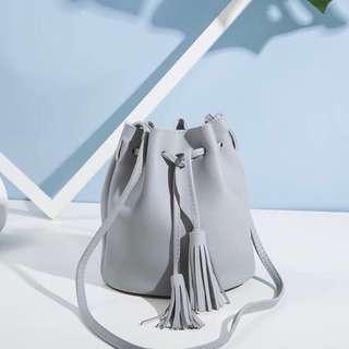 Grey Mini Bucket Bag