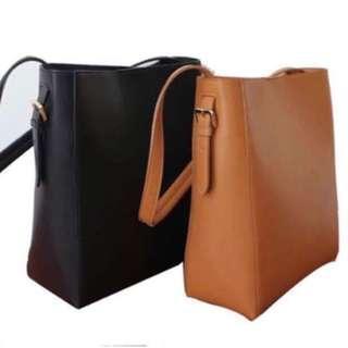 Camel Brown Shoulder Bucket Bag