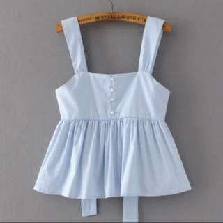 Light blue baby doll ruffle top
