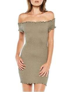 Bardot Off The Shoulder Khaki Dress