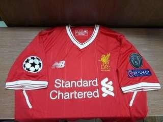 Liverpool home 17/18 +( 3ucl patches) 1 pcs S