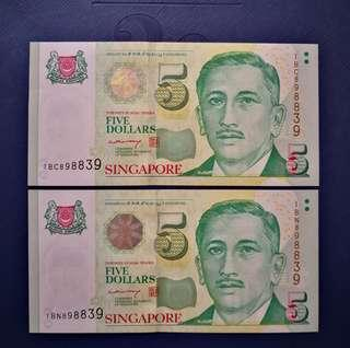 Portrait series $5 paper notes, same identical number