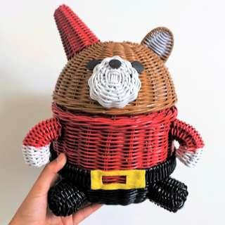 Little Christmas Bear Handmade Natural Rattan Basket