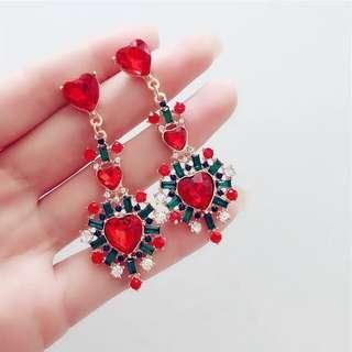 🚚 #1212 S925 Silver Korean Red Jewel Earrings
