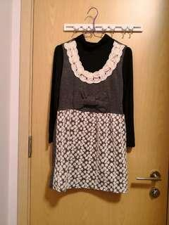 全新韓款黑色長袖上衣+灰色連身裙(一套)