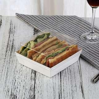 🚚 全新/ (50入) 三明治 甜點 外帶餐盒 / 外帶盒 / 包裝盒 / 蛋糕盒