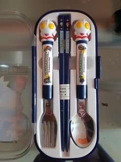 日本 咸蛋超人 絕版 小童 餐具套裝 叉 匙羹 筷子