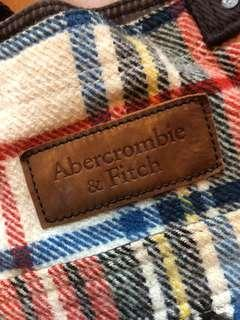 Abercrombie & Fitch wool plaid tote bag