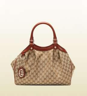 Gucci Sukey Beige Ebony Tote With Leather Trim
