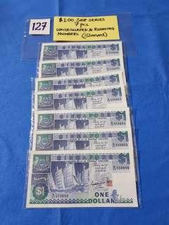 $1.00 SHIP SERIES x 7 PCS.   UNCIRCULATED & RUNNING NUMBERS.    EVERY PIECE IS SLEEVED
