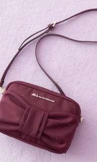 日本代購限量版 JILL by JILL STUART 2 ways Ribbon Bag 閃石款 酒紅色