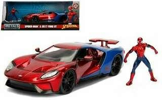 1:24 SCALE SPIDER-MAN & 2017 Ford GT Marvel - Hollywood Riders - Jada Diecast