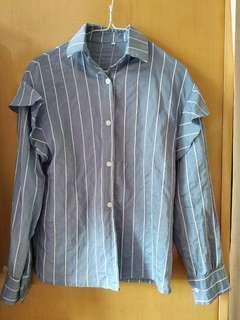 藍白直間條恤衫上衣