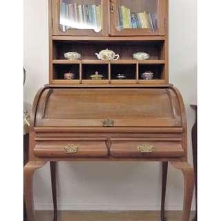 Rare antique early 1900s bureau teak wood writing table